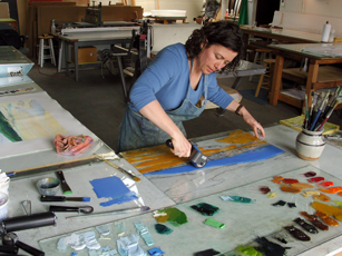 Jane making monotype